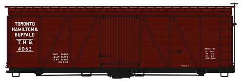 Accurail HO 1162 36' Fowler Wood Box Car Kit, Toronto Hamilton and Buffalo #4063