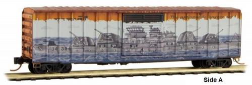Micro-Trains Z 51044016 50' Rib Side Box Car with Single Door, Railbox (Pearl Harbor Graffiti)