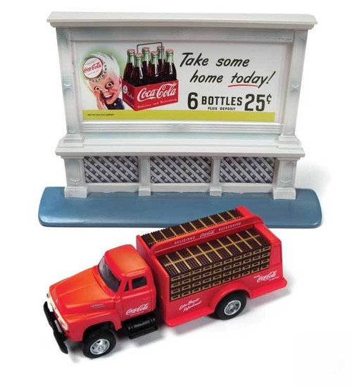 Classic Metal Works HO 40004 1954 Ford Bottle Delivery Truck with 1950s Billboard, Coca Cola