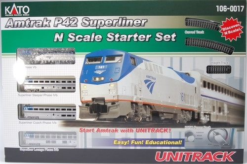 Kato N 1060017 GE P42 Amtrak Phase IVb #161 Starter Train Set with Track and Power Pack