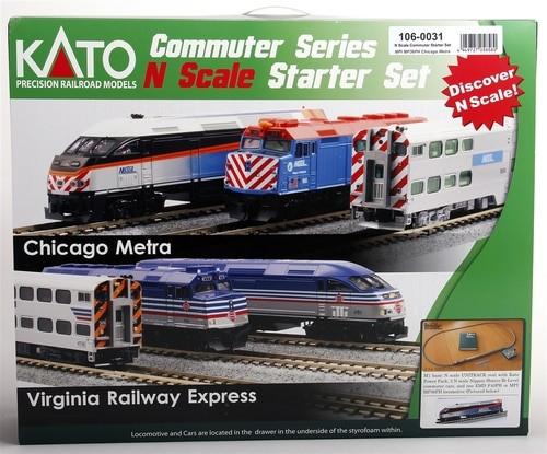Kato N 1060031 Chicago Metra MP36PH Commuter Series Starter Set