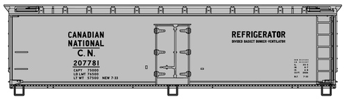 Accurail HO 4855 40' Wood Refrigerator Car Kit, Canadian National #207781