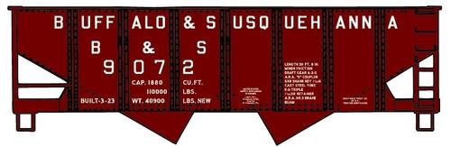 Accurail HO 24291-9072 USRA Twin Hopper Kit, Buffalo and Susquehanna #9072
