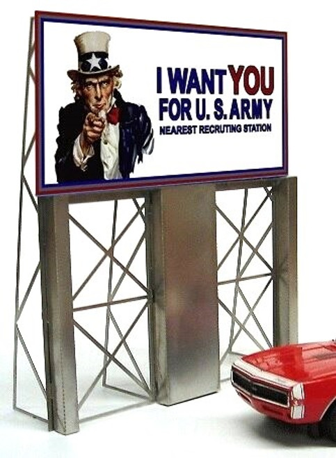 Miller Engineering HO/O 88-2151 Small Uncle Sam Roadside Billboard, Animated Neon Style Sign Kit