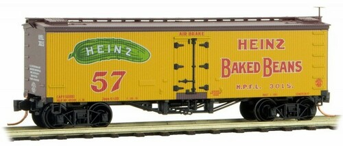 Micro-Trains N 05800440 36' Wood Sheathed Ice Reefer with Truss Rods, Heinz Car #6
