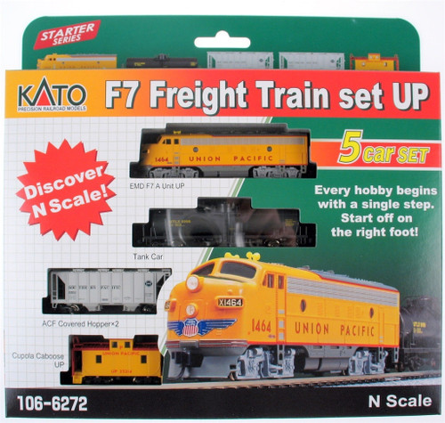 Kato N 1066272-DCC F7 Freight Train Set Without Track And Power, Union Pacific (Pre-Installed DCC)