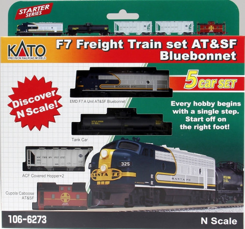 Kato N 1066273-DCC F7 Freight Train Set Without Track And Power, Santa Fe Bluebonnet (Pre-Installed DCC)