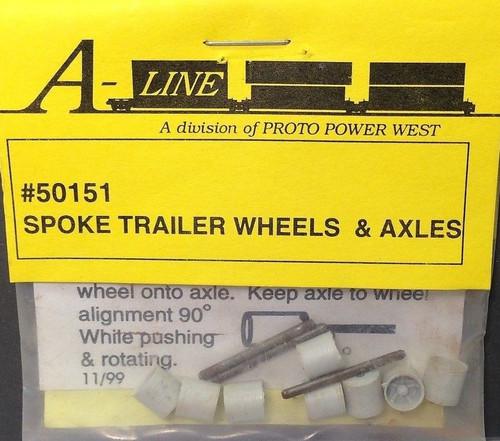 A-Line HO 50151 Spoke Trailer Wheels and Axles