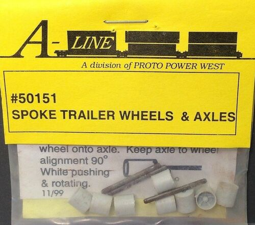 A-Line HO 50151 Spoke Trailer Wheels and Axles
