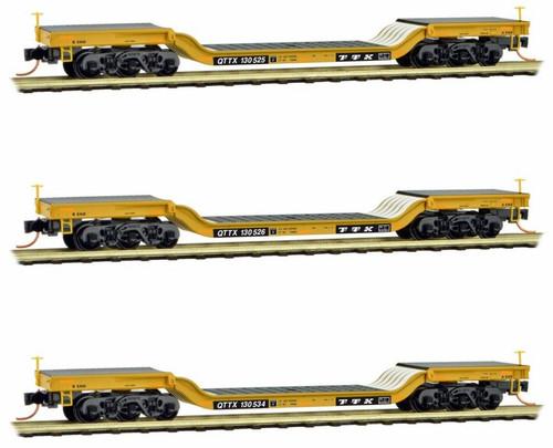 Micro-Trains N 99300150 Heavyweight Depressed Center Flat Car, TTX (3-Car Runner-Pack)