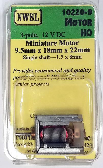 NWSL HO 10220-9 3-Pole Single Shaft Miniature Motor (9.5 x 18 x 22mm)