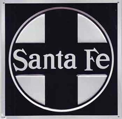 "Microscale 10003 Santa Fe 8"" Square Embossed Aluminum Sign (Black)"