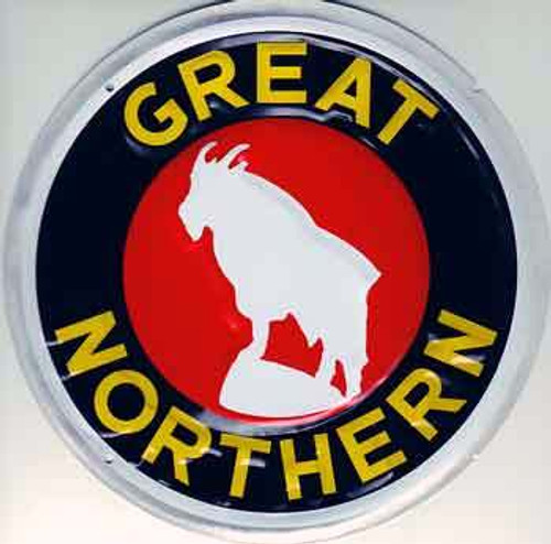 """Microscale 10004 Great Northern 8"""" Round Embossed Aluminum Sign"""