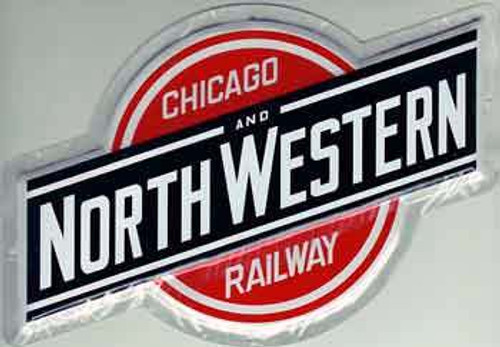 """Microscale 10011 Chicago and Northwestern 9"""" x 5-1/2"""" Embossed Aluminum Sign"""