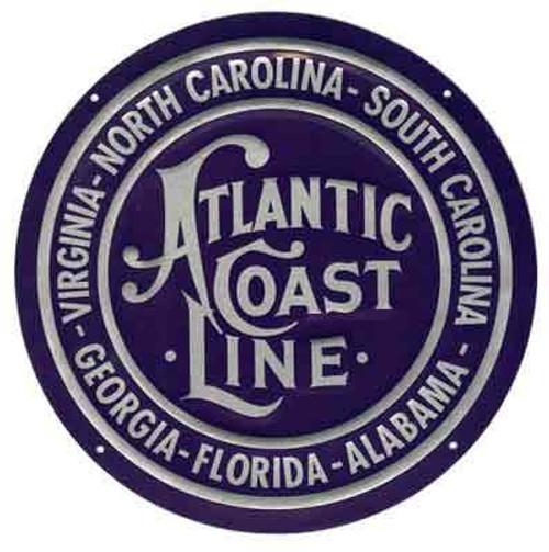 """Microscale 10012 Atlantic Coast Line 8"""" Round Embossed Aluminum Sign"""
