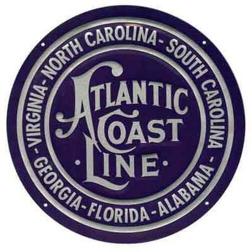"Microscale 10012 Atlantic Coast Line 8"" Round Embossed Aluminum Sign"