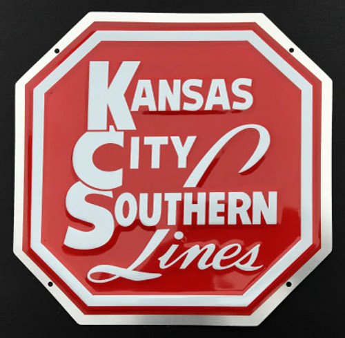 """Microscale 10014 Kansas City Southern 8"""" Octagonal Embossed Aluminum Sign"""