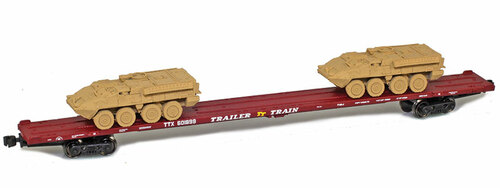 American Z Line Z 911020-2S 89' Intermodal Flat Car with Two M1126 Loads, Trailer Train #601899 (Sand Colored Load)