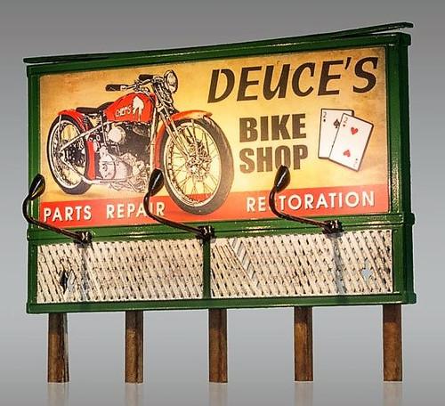 Woodland Scenics HO JP5792 Just Plug Deuce's Bike Shop Parts and Repair Billboard
