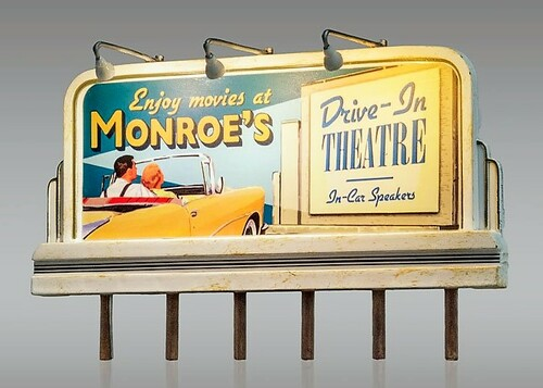 Woodland Scenics HO JP5794 Just Plug Monroe's Drive-In Theatre Billboard