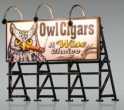 "Woodland Scenics HO JP5795 Just Plug Owl Cigars ""A Wise Choice"" Billboard"