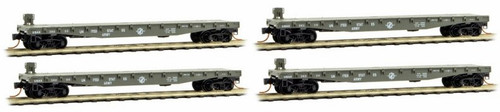 Micro-Trains N 99300151 50' Flat Car with Fishbelly Side and Side Mount Brake Wheel, U.S. Army (4-Car Runner-Pack)