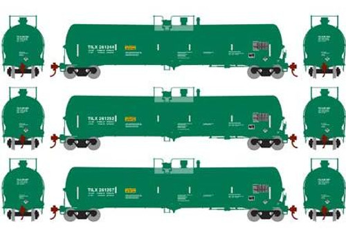 Athearn N 16501 30,000 Gallon Ethanol Tank Cars, TILX (Green) #2 (3)