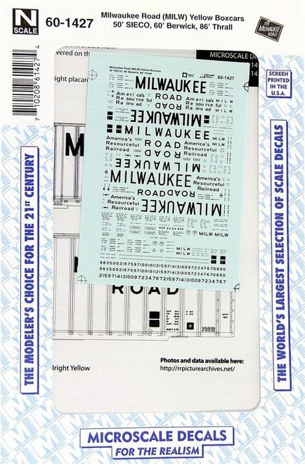Microscale N 60-1427 Milwaukee Road Yellow Box Cars 50' SEICO, 60' Berwick, 86' Thrall (d)