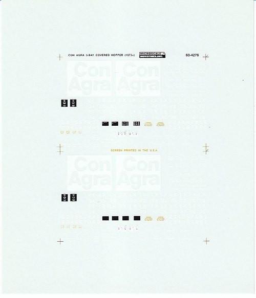 Microscale N 60-4276 ConAgra PS 3-Bay Covered Hopper (1973+) (d)