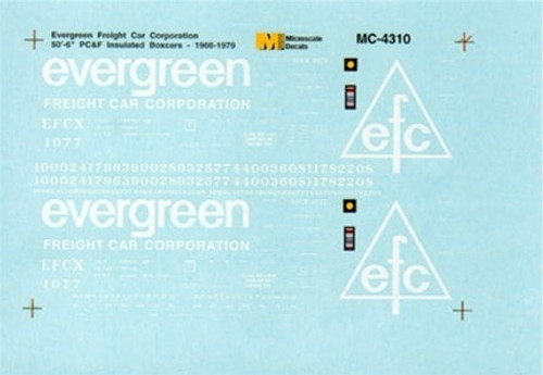 Microscale N 60-4310 Evergreen Freight Car Corp. 50' Insulated Box Cars (1966-1979) (d)