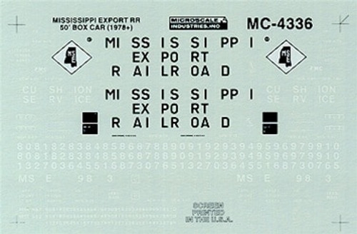 Microscale N 60-4336 Mississippi Export 50' Box Car (1978+) (d)