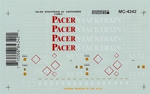 Microscale N 60-4342 Pacer Stracktrain 52' Containers (1999+)