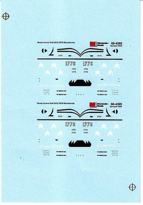Microscale N 60-4395 Illinois Central Gulf GP38 Bicentennial (1976+) (d)