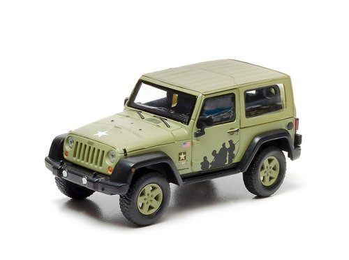 Greenlight Collectibles O 86042 2012 Hard Top Jeep Wrangler, US Army Custom Decoration Light Green (1:43) (d)