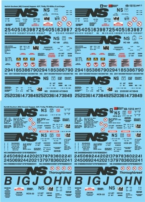 Microscale O 48-1515 Norfolk Southern ACF, Trinity, PS 4000 and Larger Covered Hoppers Decal Set (d)