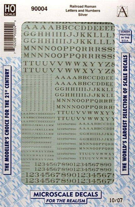 Microscale HO 90004 Railroad Roman Letters and Numbers, Silver
