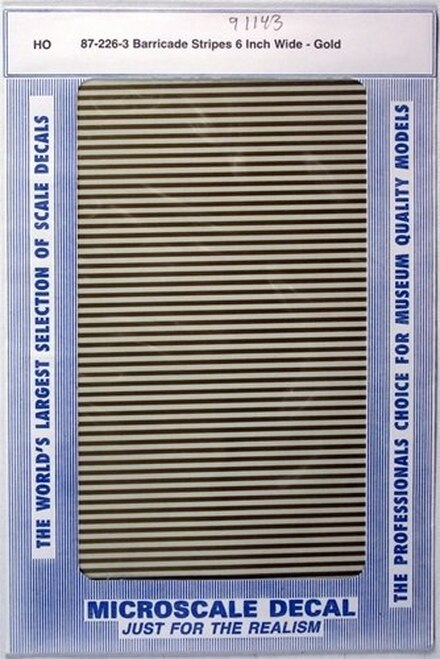 "Microscale HO 91143 Barricade Stripes 6"" Wide, Gold (d)"