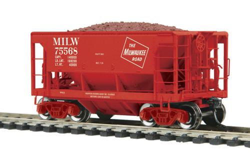 MTH HO 80-97038 70-Ton Center Discharge High Extension Ore Car, Milwaukee Road #75568