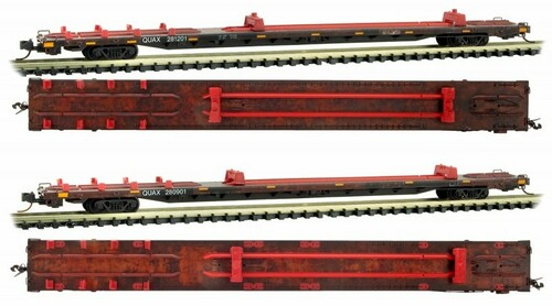 Micro-Trains N 99305510 Weathered 89' Flat Car, QUAX (2-Pack)