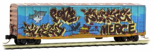 Micro-Trains N 02544146 50' Rib Side Box Car with Single Door and No Roofwalk, Hartford and Slocomb (Shark Graffiti)