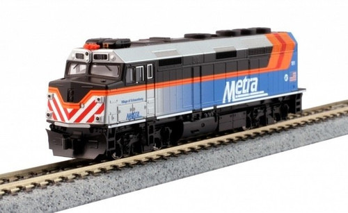 """Kato N 1769106-LS EMD F40PH with Ditch Lights, Chicago Metra """"Village of Schaumburg"""" #181 (DCC and ESU LokSound Equipped)"""