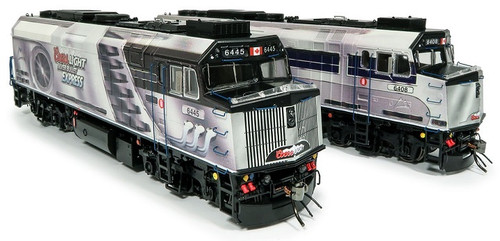 Rapido HO 80561 F40PH-2D Locomotive 2-Pack, Coors Light Silver Bullet Express #6408/6445 (DC/DCC/Sound Equipped)