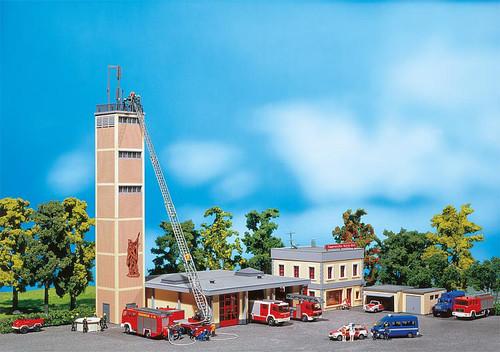 Faller HO 130989 Fire Station, Commanders Bldg, 3-Stall Garage Annex, 2 Garages, Observation Tower