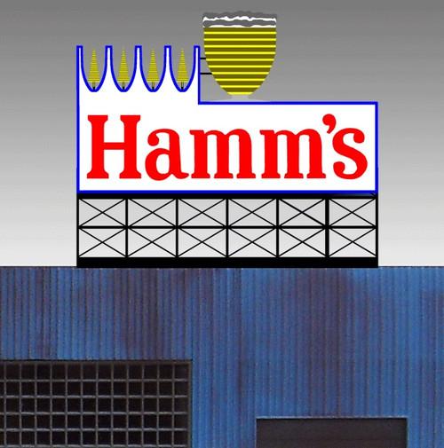 Miller Engineering HO/O 88-3451 Large Hamm's Billboard, Animated Neon Style Sign Kit