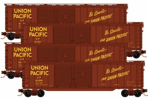 Micro-Trains N 99300152 50' Auto Box Car with Double Side Doors and End Door, Union Pacific (4-Car Runner-Pack)