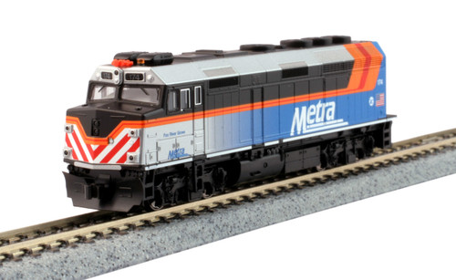 """Kato N 1769105-DCC EMD F40PH with Ditch Lights, Chicago Metra """"Fox River Grove"""" #174 (TCS K5D7 Decoder Installed)"""