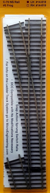 Micro Engineering HO 14-818 Ladder Track System Code 70 #5e Frog Turnout, Last Ladder Left Hand