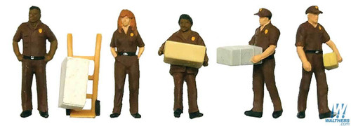Walthers SceneMaster HO 949-6043 UPS Delivery Personnel (5 Figures and Handcart)