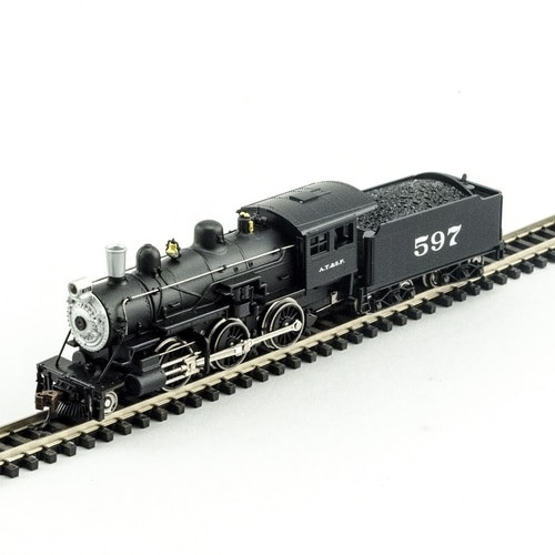 Model Power N 876111 2-6-0 Mogul Steam Locomotive, Atchison Topeka and Santa Fe #597 (DCC and Sound Equipped)