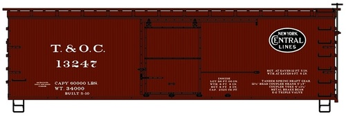 Accurail HO 1806 36' Double Sheath Wood Box Car Kit, Toledo and Ohio Central (NYC Lines) #13247